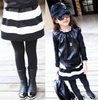 2T-8y children's skirt black white strip baby girl kids fashion skirts for girls Autumn-Summer princess tutu skirt girl