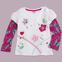 Baby girls clothing cotton long novelty sleeve t shirts with butterfly embroidery