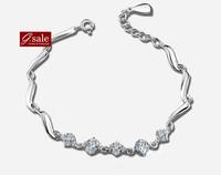 GS brand SL-32 Bracelets for women 2014 brilliant stars wave 925  sterling silver jewelry vintage charm bracelets Bangles