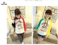 Autumn glasses cat cartoon with a double hood sweatshirt female casual all-match long-sleeve pullover