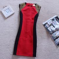 New 2014 Autumn Winter Women fashion and America Star Vintage Rivet Patchwork Sleeveless Sundress Pencil Skinny Dress ZY0248