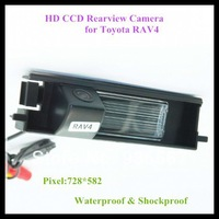 Free Shipping HD CCD wired backup camera for Toyota RAV4 728*582 night vision waterproof 170 degree wide angle vision