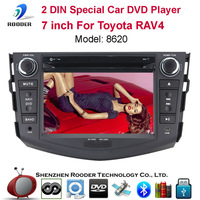 2din 7 inch Car DVD Player with MP3 CD BT FM RDS GPS Radio Audio Video Touch Screen Russian Portuguese English For Toyota RAV4