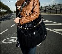 fringe bag hand bags fashion bag Sequins tassel Metal chain handle Free shipping