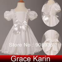 Free Shipping!Princess Grace Karin Kids Taffeta Flower Little Girl Bridesmaid Wedding Pageant Evening Party Dress White CL4833