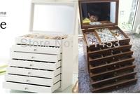 7 layers Luxury Princess Fashion Wooden Large Jewelry Storage Organizer/Display Box, Make Up Caskets/Holder