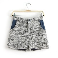 2014 the new winter Europe and America style fashion Woolen high waist denim stitching casual women shorts ft904