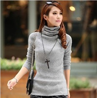 free tops new 2013 autumn-summer rabbit hair female slim thickening sweater women wool turtleneck pullovers long sleeve sweater