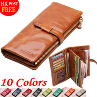 100% Genuine Leather Wallets Classics Long Designers Brand Business Card Holder Zipper Luxury Oil Wax Cowhide Purse For Women