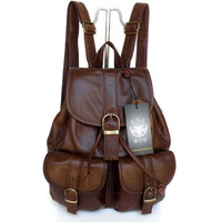 2088 100%Leather Vintage Coffee Decent Shoulder Bag Backpack