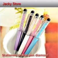 Free Shipping 10pcs/Lot Stationery Novelty Crystal Pen Diamond signature Ballpoint Pen For ipad iphone Touch Pen, caneta
