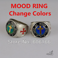 NEW 8pcs/lot GOD BE WITH YOU Cross Zinc Alloy Rings Mood Ring Change Colors Fashion Catholic Christian Religious Jewelry