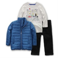 Hotsale export high quality boys girls 3pcs clothing sets down coat+corduroy pants+t-shirt ,2sizes limited quantity 2-3yrs kid