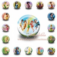 A Set of 18Pcs  Tinker Bell  Tin Buttons pins badges,30MM,Round Brooch Badge  ,Mixed 18 Styles,Kids Party Favor