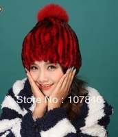 2014 Women's Real Rex Rabbit Fur Hats with Ball Female Winter Beanies Caps Fashion Headgear VK1300