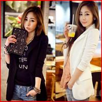 2013 autumn female medium-long blazer outerwear long-sleeve chiffon patchwork suit