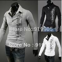 2013 autumn British Printing cotton polo shirts trendy clothing korean fashion casual long-sleeved men's t-shirts free shipping