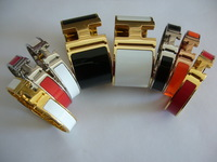 High Quality Width H Enamel Gold Plated 316L Stainless Steel Bangle Bracelets