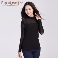 2013 brand fashion women's plus size  long sleeve lace T-shirt  autumn -summer top turtleneck roupas femininas  XXL 3xl 4xl 5xl