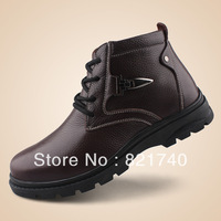 new 2013 Winter cotton-padded shoes men's high-top boots male genuine leather wool casual flats shoes Plus size black brown