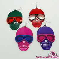 glasses skeleton drop earrings
