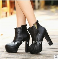 2013 color block decoration high-heeled boots back zipper platform martin boots platform boots