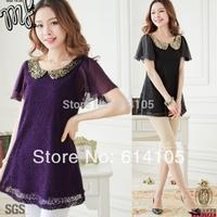 Lace Shirts For Women 2014 Summer Plus Size Pater Pan Sequin Collar Chiffon Crochet Blouse Blusas XL