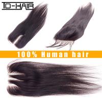 Best quality peruvian virgin hair straight lace closures color 1B virgin peruvian hair lace closure bleached knots TD HAIR