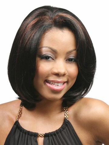Bob style Synthetic wigs Free shipping Medium Length Straight Black ...