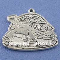 Wholesale Tibetan Silver Turtle Pattern Pendant Charms 4pcs/Lot 33mm Free Shipping