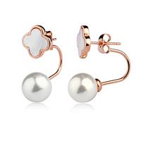 two wear way pearl stund earrings gold,A94464 -30