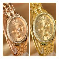 Hot-selling Luxury GENEVA brand Steel watchband diamond dial fashion watch lovers dresses rose gold quartz Women wristwatches