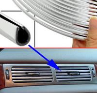 10mx6mm U shape Car Chrome Silver Styling Air Vent Outlet Grille Trim Strip Fit X5 3 6 X6 M5 Z4 CRV RAV4 A4 A6 S4 Jetta Golf