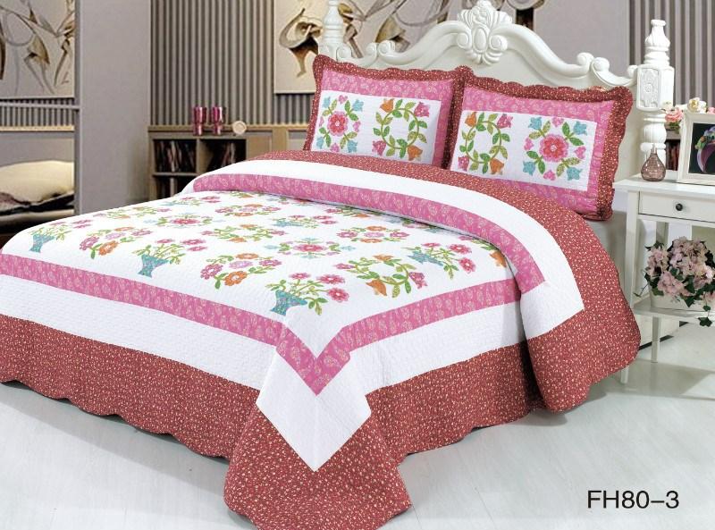 Frete grátis rosa patchwork 100% algodão russos 3 peças colchas de verão(China (Mainland))