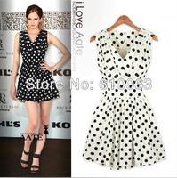 summer dress 2014  tank dress slim pleated fashion women's polka dot chiffon sleeveless one-piece dress free shipping