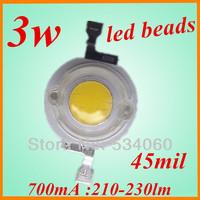 factory oulet 30pcs/lot 3w high power white LED light beads 210-230lm bridgelux  3w led light  Beads diy light led grow light