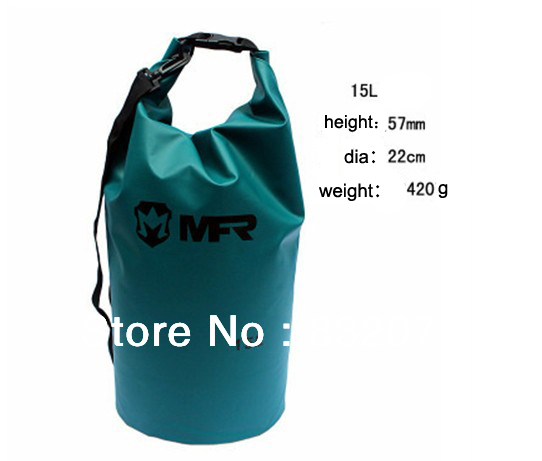10pcs lot 15L Dry bag pvc and mesh fabric Waterproof Bag with ajustable belt for surfing, fishing, Camping(China (Mainland))