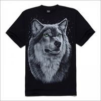 Fashion New Style Men's 3D T shirt Wolf Print Shirt Short Sleeve Brand Tops S~2XL Big Size Cotton Tees