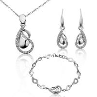 New Arrival 18K Gold Plated Jewelry Set,18K Rhinestone Zircon Austrian Crystal Necklace Earring Bracelet Bridal Sets SMTPS227