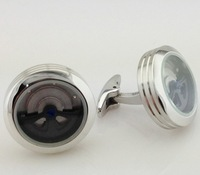 New arrival luxury mens titanium steel cufflinks black/silver/yellow gold plated for choice free shipping,christmas gift