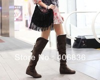 Free shipping 2014  High quality casual style Long boots low heel Korean hot selling law back lacing fashion boots snow boots