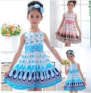 2014 Kids Girls Dress cute peacock color sleeveless princess dress circle Korean Fashion Blue children's clothing New Alince(China (Mainland))