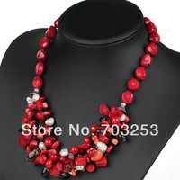 Assorted Natural Red Coral Necklace with  White Pearl and Smoky Quartz and Moonlight Clasp