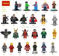 Decool 24pcs Building Blocks Super Heroes the avengers action figures Captain America Batman Iron Man HULK LOKI ROBIN toys