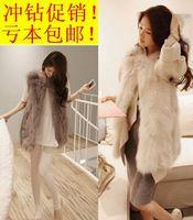 2014 Hot Sale Real Freeshipping V-neck Wool Mink Coat Colete Pele Artificial Faux Vest Outerwear Fox Short Design Rabbit Sweater