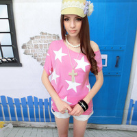 Pink baby doll 2013 summer rose pink five-pointed star print irregular oblique t-shirt