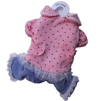 For Small Dogs Winter Clothing With Pockets Pink Dotted Overall Jumpsuits 2014 New Pets Products Clothing Free Shipping