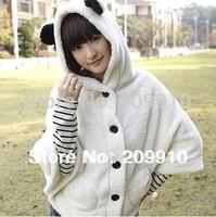 2014 Hot Sale  New Fashion Autumn Winter Juniors Plush Velvet Cloak Ear outerwear sweatshirt Women Cute Hooded Panda Coat