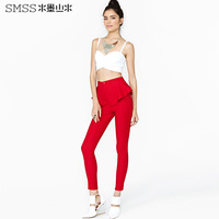 Brand design womens slim pencil pants with ruffles decoration for dropship
