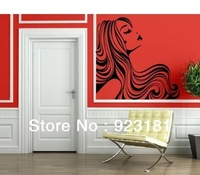 Free shipping Woman Long Wavy Hair Beautiful Vinyl Wall Art Sticker Decal DIY Home Decoration Wall Mural Removable Room 55x58cm